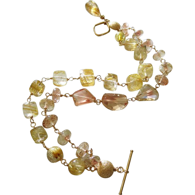 Exceptional Oregon Sunstone-Venus Hair Golden Rutilated Quartz-2 Strand Solid 14k Yellow Gold Toggle Bracelet with Briolette Charm