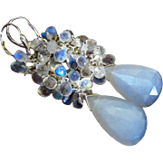 Moonlight AAA Rainbow Moonstone-White Chatoyant Moonstone-Cascade Long Dangle Sterling Silver Earrings