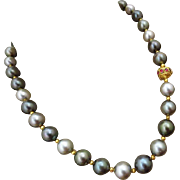 18K 11-14mm Tahitian Cultured Pearls-Ruby-Pink Sapphire-Solid Gold-One Of A Kind Necklace-June Birth Stone Necklace