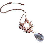 Petals-Large Natural Crystal Quartz-14k Rose Gold Plate-Nature Inspired Pendant-Adjustable Necklace
