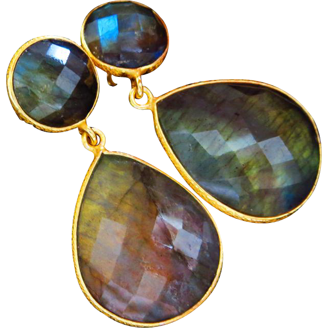 Flashy Labradorite-18k Gold Vermeil-Sterling Silver Post Dangle Earrings