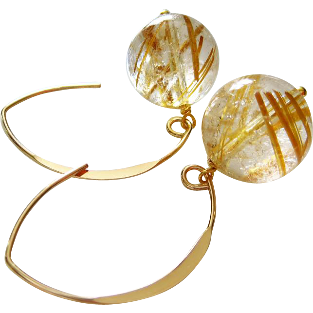 13mm Rutilated Quartz Orbs-Venus Hair Quartz-14k Gold Fill Contemporary Hoop Earrings