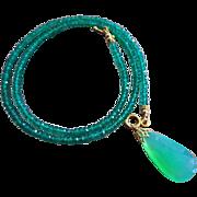 14k Gem Chrysoprase-Natural Green Onyx-14k Solid Gold Pendant Toggle Necklace