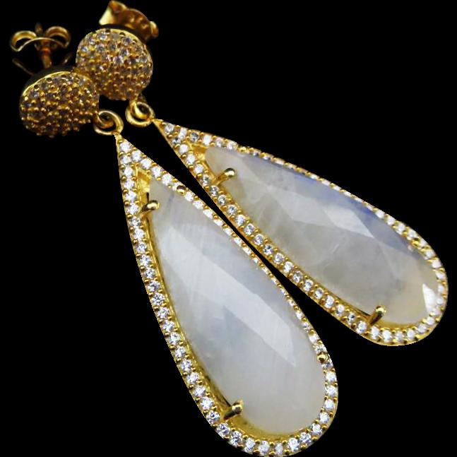 Moonstone-Pave CZ 18k Gold Vermeil Dangle Post Earrings