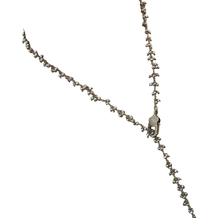 "30"" Pave Diamond-Black Pyrite-Black Rhodium Plate Y Necklace Fringe Charm Adjustable Necklace"
