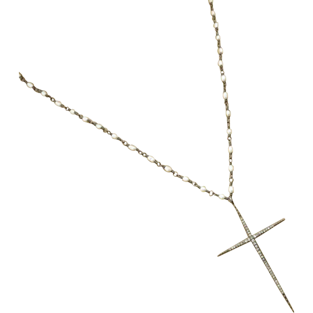 "24"" Pave Diamond Cross Pendant-Natural FW Seed Pearl-Oxidized Sterling Silver Rhodium Layering Necklace"