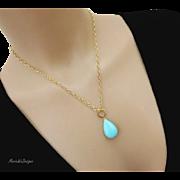 14k Genuine Sleeping Beauty Large Pendant-Hoop-Solid Yellow Gold Adjustable Pendant Necklace