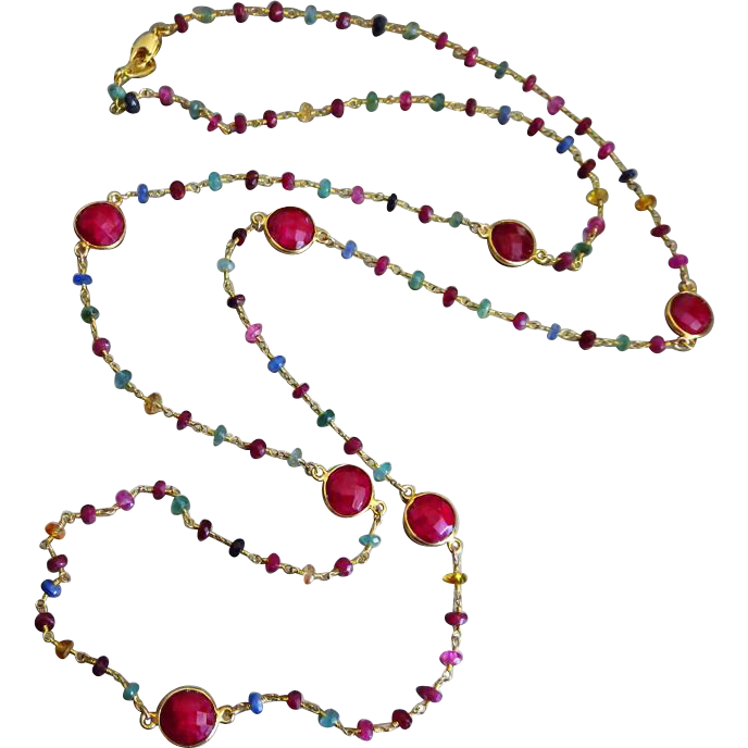 "38"" Emerald-Ruby-Blue Pink Yellow Orange Sapphire-Precious Gems-Bezel Ruby-Long Layering Gold Vermeil Necklace Multi Strand Bracelet"