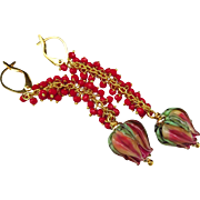 Red Coral-Artisan Lampwork Blossoms Buds-Cascade-Waterfall-Gold Filled Leverback Earrings
