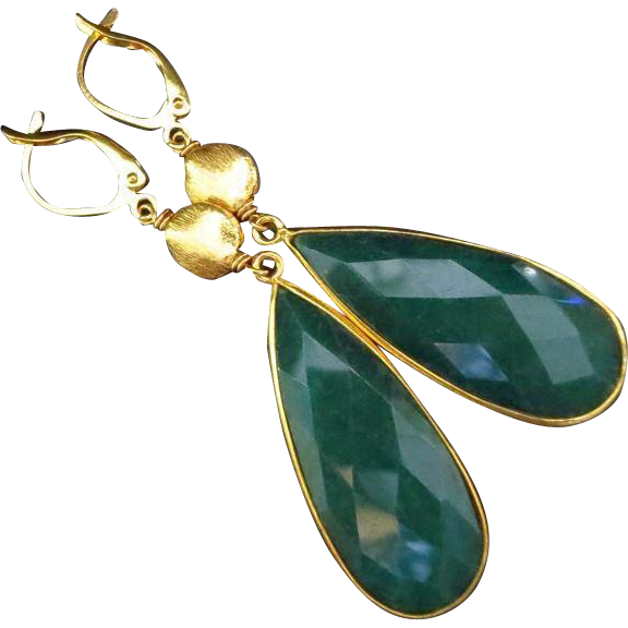 Bold Emerald-Gold Vermeil-Gold Over Silver-Leverback Dangle Earrings-May Birthstone