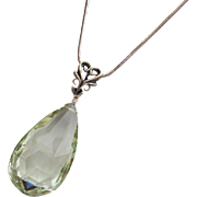 Natural Green Amethyst-Prasiolite-Sterling Silver-Simply Elegant Pendant Necklace