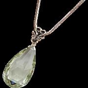 Natural Green Amethyst-Prasiolite-Sterling Silver-Simply Elegant Pendant Necklace