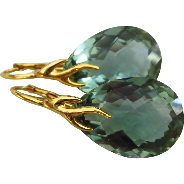 Green Amethyst-Prasiolite-18k Gold Vermeil Drop Shape-Branch Leverback Earrings
