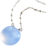 GLOW-Natural Blue Chalcedony-Sterling Silver Simply Elegant Pendant Necklace