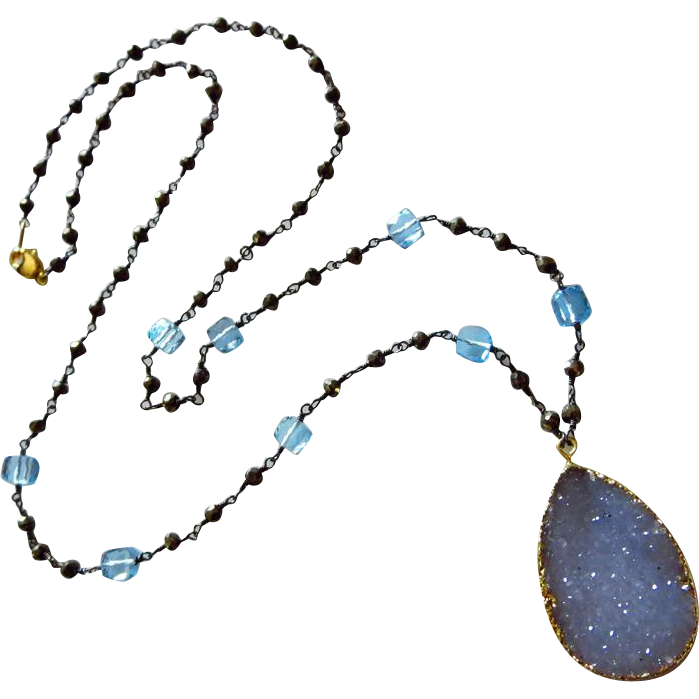 Exceptional Natural Blue Chalcedony Druzy-Blue Topaz-Pyrite-Oxidized Silver Drusy Pendant Necklace