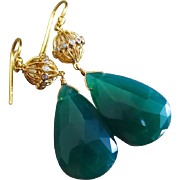 Emerald Green Onyx-CZ Embellished 18k Gold Vermeil Gold Fill Dangle Earrings