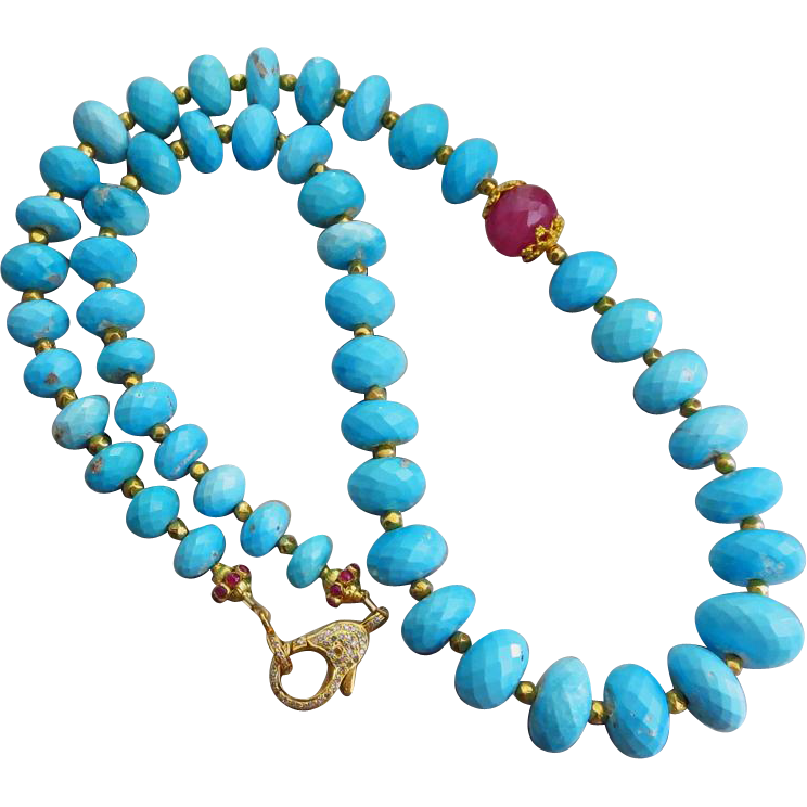 Rare-Untreated Sleeping Beauty Turquoise 332ct-Ruby-18k 22k Solid Gold-Pave Diamond Clasp-One Of A Kind Necklace-Unstabilized Turquoise