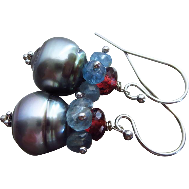 Natural Tahitian Pearls-Santa Maria Aquamarine-Pyrope Garnet-Blue Topaz-Solid 14k White Gold Dangle Earrings