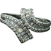 Vintage-1.28ct Diamond-14k White Gold Bypass Anniversary Ring-Baguette Brilliant Diamond-Size 7.25