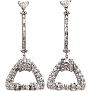 Certified-Art Deco-Platinum 8.5ct Diamond Baguette-Old European Cut-Long Dangle Drop Post Earrings