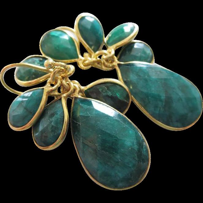 Multi Emerald Bezel Dangles-18k Gold Vermeil Earrings-May Birthstone