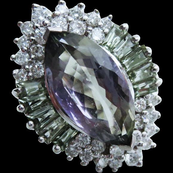 Tanzanite-Green Sapphire-Diamond-14k White Gold Cocktail Ring-US Size 7