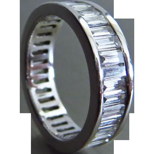 4ct 14k Baguette Diamond Eternity Wedding Anniversary Band-US Size 6