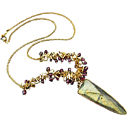 Flashy Labradorite-Garnet-Charm Fringe 18k Gold Vermeil-GP- Geometric Spear Pendant Necklace