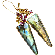Fire Labradorite-Garnet-18k Gold Vermeil-Geometric Charm-Spear-Sterling Silver-Bezel Dangle Earrings