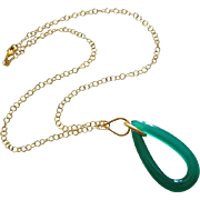 Unique Emerald Green Onyx Hoop Pendant-Gold Fill Necklace