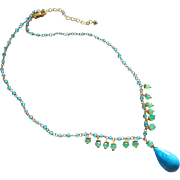 Electric Apatite-Chrysoprase Fringe-Tibetan Turquoise Pendant-18k Gold Vermeil Adjustable Necklace