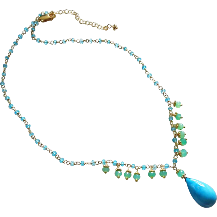 Electric Apatite-Chrysoprase Fringe-Tibetan Turquoise Pendant-18k Gold Vermeil Adjustable Necklace
