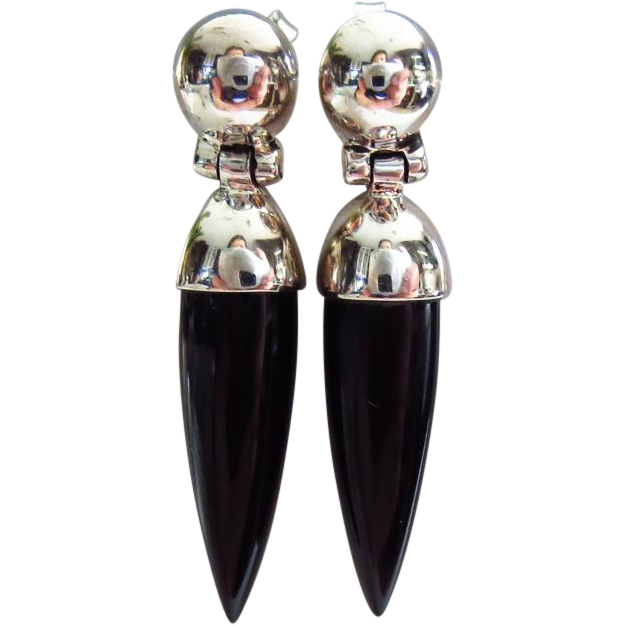 Black Onyx Spears-Sterling Silver Contemporary Post Dangle Earrings