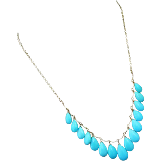 Genuine Sleeping Beauty Turquoise-14k Solid Gold Multi Charm Briolette Necklace