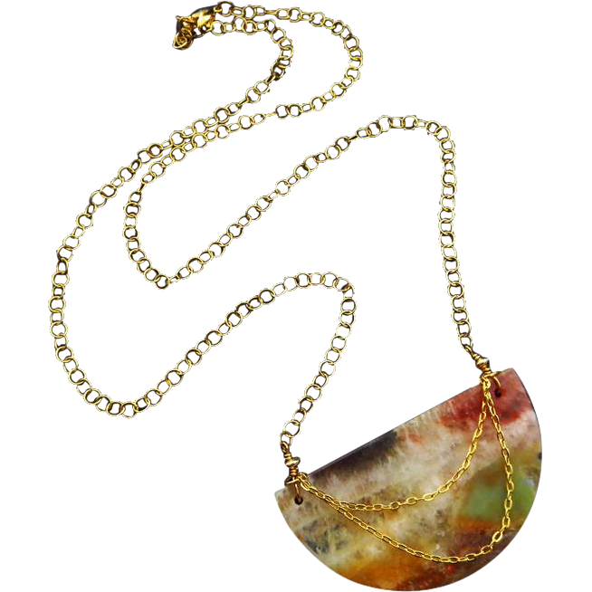 Picturesque Feldspar-Half Moon-Multi Hued Natural Stone-Gold Fill Adjustable Necklace