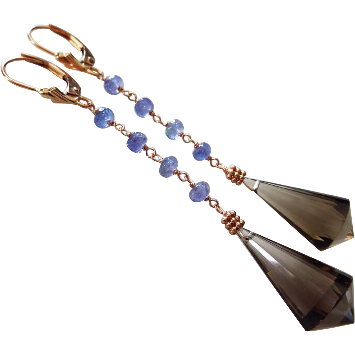 Tanzanite-Gem Smoky Smokey Chandelier Briolette Quartz-14k Solid Rose Gold Long Dangle Earrings