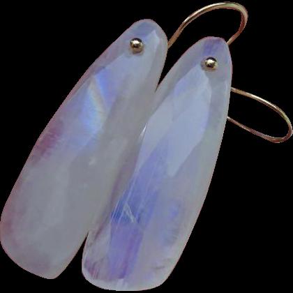 Bold Rainbow Moonstone Earrings-14k Solid Gold-Minimalist Earrings