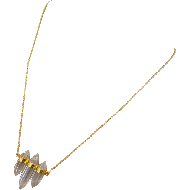 Trio-Crystal Natural Quartz Points-18k Gold Vermeil Pendant-Unisex Necklace