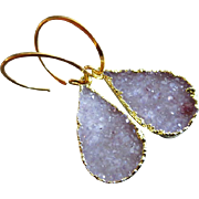 Exceptional Untreated Drusy Druzy Gold Vermeil Hoop Earrings