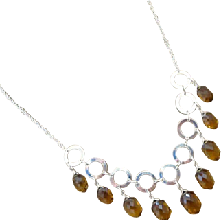 Exceptional Unique Cognac Quartz Multi Briolette-Fresh Water Pearls-Sterling Silver Hoops-Contemporary Adjustable Necklace