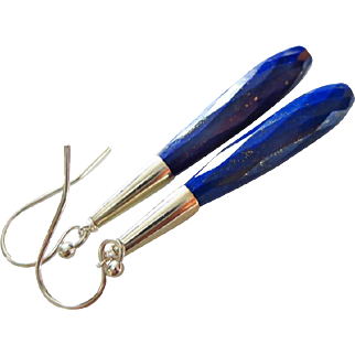 Exceptional Natural Lapis-Pyrite Speckled-Sterling Silver Contemporary Slender Long Earrings