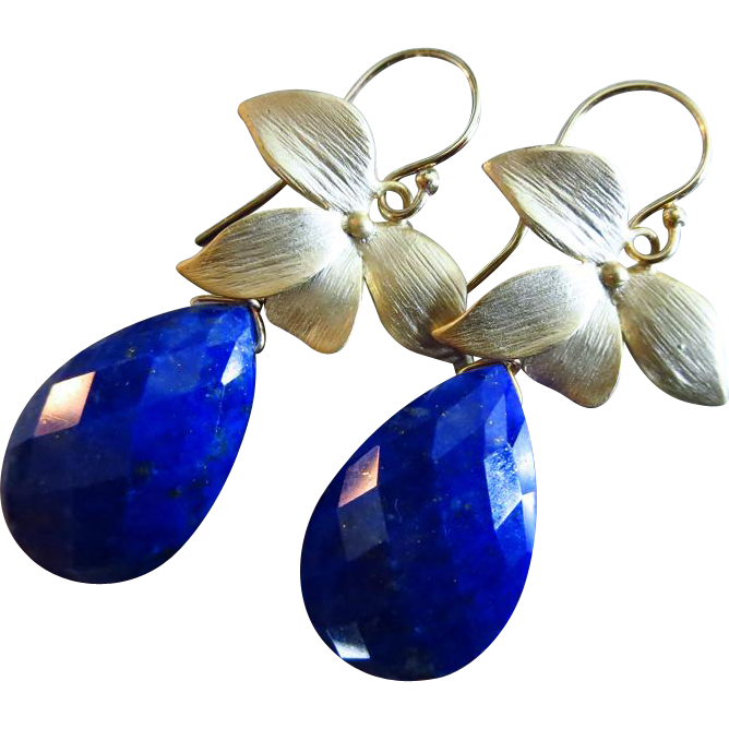 Lapis Lazuli-Blossom Gold Plated Floral Dangle Earrings