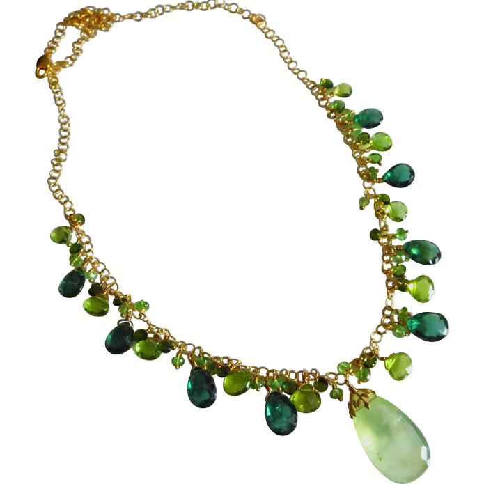 Green Gems-Chrome Diopside-Tsavorite-Green Apatite-Peridot-Prehnite Pendant-Gold Fill Charm Necklace