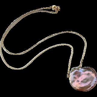Huge 26mm Keishi Keshi Pearl Pendant-14k Solid Gold Simply Elegant Necklace