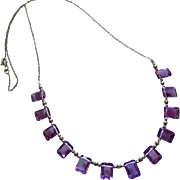 14K Emerald Cut Natural Amethyst Multi Briolette-14k Solid White Gold-February Birthstone Necklace