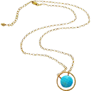 Tibetan Turquoise Pendant-24k Gold Vermeil Hoop-14k Gold Fill Adjustable Necklace