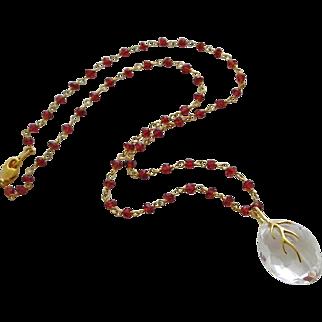 Natural Crystal Quartz-Garnet-18k Gold Vermeil Branch-Marquise Pendant Necklace