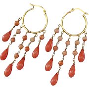 Peachy Salmon Coral-24k Gold Vermeil Chandelier Hoop Earrings
