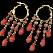 Peachy Salmon Coral-24k Gold Vermeil Chandelier Hoop Earrings