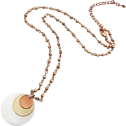 Mixed Metals-Rose Gold-Yellow Gold Vermeil-Sterling Silver Disc Pendant-Rose Gold Quartz-Adjustable Necklace